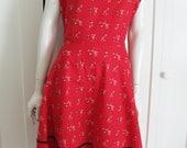 Vintage 1950's  Red Fencing Novelty Cotton  Print Cap  Sleeve Dress Sz XL - Plus