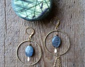 Labradorite and brass statement earrings with chain fringe