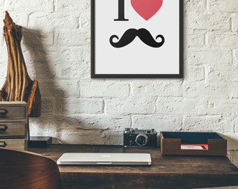 Moustache Wall Art, Moustache Lover Print, Heart Moustache Decor, Barber Shop Decoration, Living Room Decor, Last minute gift, Pdf, Jpg