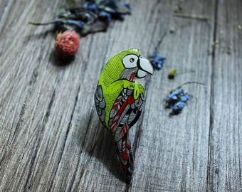 Parrot pin Birthday gift|for|her Birds jewelry|for|her Wife gift Jewelry|for|girls jewelry|for|teen jewelry|for|sisters jewelry|for|new mom