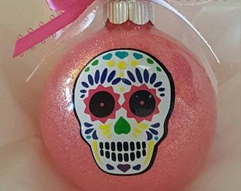 Glass Ornament, Sugar Skull, Day Of The Dead, Custom Ornament, Christmas Ornament, Sugar Skull Ornament, Vinyl Ornament, Christmas Ball