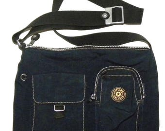 "Vintage KIPLING Purse / Blue Nylon Shoulder Bag / Classic / Vintage 1980s 1990s / 11.75"" x 11"" x 2.5"""