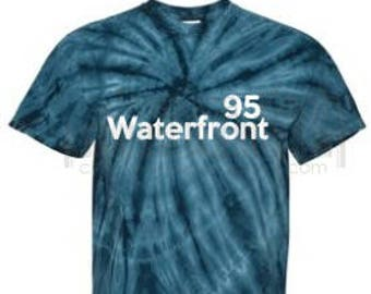 Waterfront 95 Custom Designed Tye Dye Tee Shirt~ Block Lettering
