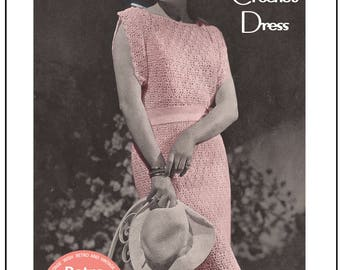 1930's Lace Dress Crochet Pattern - Instant Download - PDF