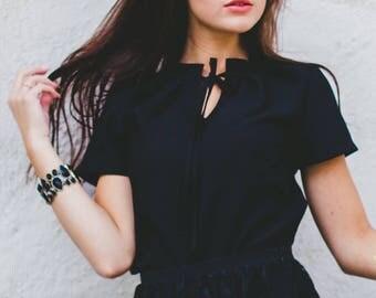 Chiffon Top, Women Black Thisrt, Gothic Clothing, Steampunk Top, Casual Black Top, Ribbon Tshirt, Black Summer Top, Party Tshirt