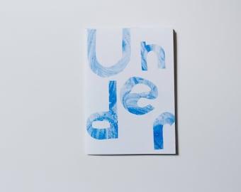 Under - risograph art zine, illustration A6 origami book.