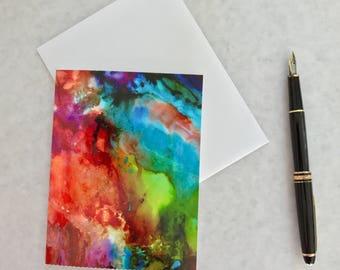 Note card. Art card. Greeting card. Print of original alcohol ink art. Look Beyond.