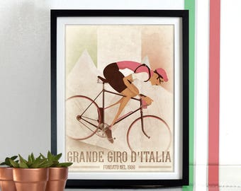 Giro D'Italia Vintage Style Italian Italy Pink Jersey Wall Art Print Home Décor cycling bicycle cycling cycle