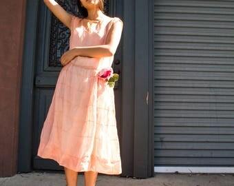 vintage 1920s blush sheer organza dress