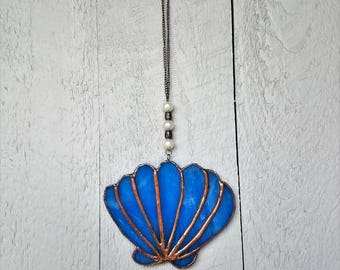 Scallop Shell Ornament, Sea Lover Gift, Seashell Suncatcher, Window Ornament,Creative Gift Idea,Beachaholic,Beachy Decor,Car Mirror Ornament