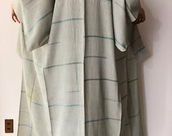 """Woman's Japanese Robe - Vintage Japanese Kimono - Long Kimono - Authentic Kimono - Boho Kimono - Kimono Jacket - Size M Kimono - """"Horizon"""""""