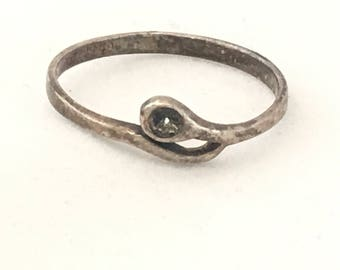 925 Tarnished Silver Ring, Sterling Silver Ring, Silver Ring with Fillable Setting Ring, Serpentine Snake Like Ring, Distressed Silver Ring