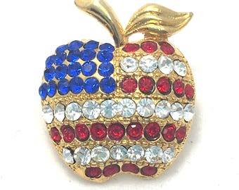 Patriotic Apple Brooch, Red, White, Blue American Flag Bling Apple Pin, 4th of July Teacher Jewelry, USA Flag Jewelry, Gold Tone Rhinestone