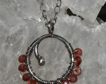 Garnet Dewdrop Necklace Sterling Silver Natural Stone January Birthstone