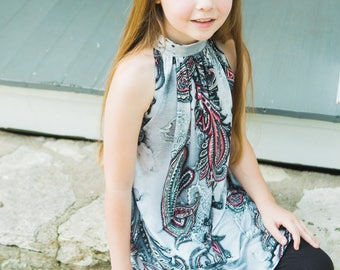 Girls Emma Top and Dress PDF Sewing Pattern - Newborn to 12 years, front and back high neck, flared top, five length options, optional sash