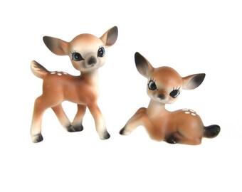 Ceramic Deer Figurines, Made in Japan, Bambi Deer Fawn Figures, Vintage Christmas Deer