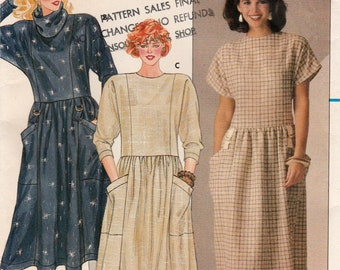 Misses Dress, Princess Seamed, Low-Waisted with Two Sleeve Lengths, Butterick 6439 Sewing Pattern, Multi-Size 8, 10, 12, Uncut Vintage