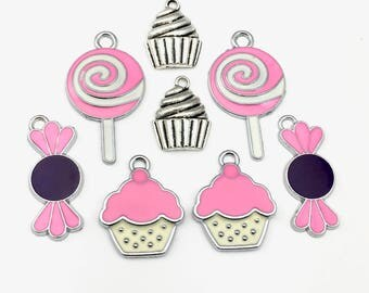 8 candy and cupcake enamel charms cupcake,20mm to 35mm # ENS A 081