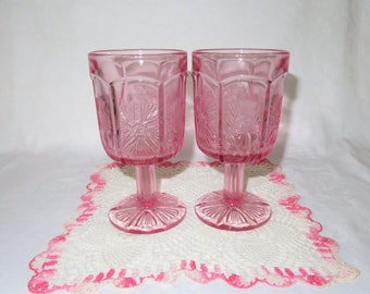 LE Smith, Pink Thistle Goblets
