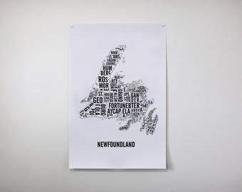 Newfoundland Typographic Map - Newfoundland Art - Newfoundland Print - Newfoundland Poster