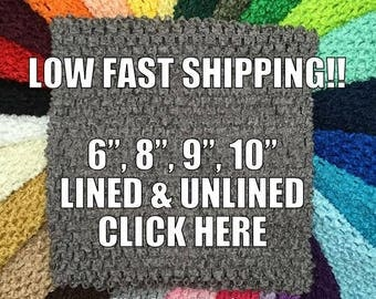 "Dark Grey Crochet Tutu Top 6 inch, 8"", 9"" Dark Gray Lined and Unlined Tube Top, Infant, Toddler, Girls Tutu Dress Costume Top"