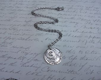 Love you to the moon and back citation necklace