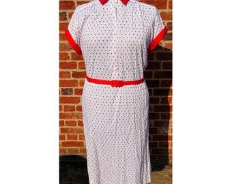 Vintage 80s Does 50s Dress/Ditsy Print/Berketex/Rockabilly Dress/Cotton Summer Dress/80s Dress/50s Style/Rock N Roll/Vintage Dress/UK 16