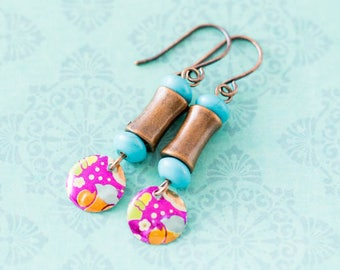 Colorful Bohemian Vintage Tin Earrings with Turquoise and Antique Copper Beads, Vintage Tin Jewelry, Boho Chic Jewelry