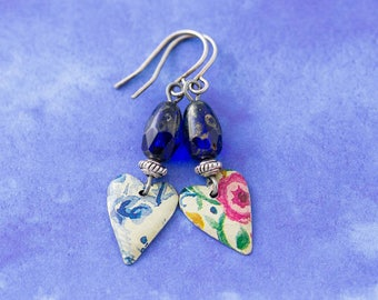 Small Mismatched Tin Flower Heart Earrings with Cobalt Blue Czech Glass Beads, Heart Earrings, 10th Anniversary Jewelry