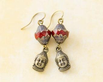 Buddha Head Earrings with Red Czech Glass Earrings, Buddhist Earrings, Spiritual Jewelry, Buddha Jewelry