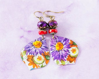 Floral Tin Teardrop Earrings with Purple Flowers and Purple and Red Faceted Beads, Flower Tin Earrings, Bohemian Jewelry