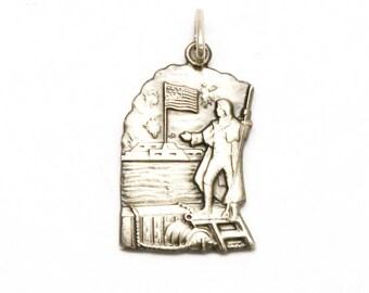 National Anthem Bracelet Charm Vintage Heritage Sterling Silver Francis Scott Key