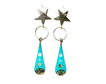 Intergalactic Earrings / Saturn and Silver Stars / Mother of Pearl and Abalone