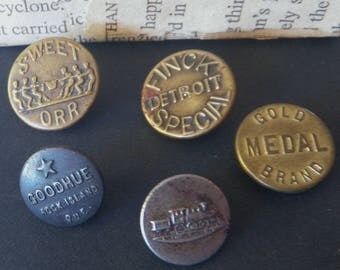 5 Mens Work Clothes Buttons From 1900-1935 American Backbone