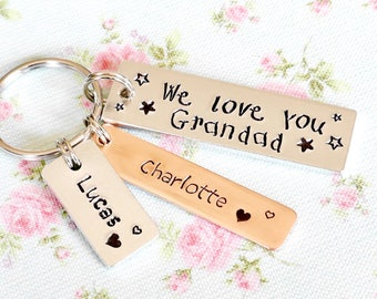 Personalised Fathers Day Gift For Grandad, Daddy Keyring, Personalised Pops Gift, From Grandchildren,We Love You,Birthday Gift from Daughter