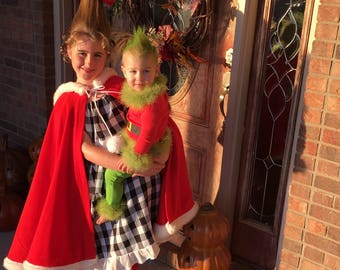 Cindy Lou Who Costume, The Grinch, Red Hooded Cape, Santa Claus Clothing, Cosplay Capelet, Fur Trim Hooded Cape, Red Riding Hooded Cape