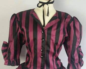 Steampunk top, Victorian blouse, Striped Top, 80S STYLE, goth style, Fancy dress, Historical Costume, Vintage top, Size 12, Victorian blouse