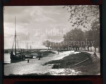 Antique Magic Lantern Glass Slide - Near Rye East Sussex Moored Boat, Anchor Nautical - Vintage Projector Slide