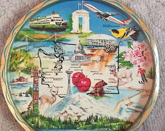 Vintage State of Washington metal tray