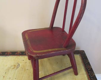 Antique Old Red Wood Doll Chair