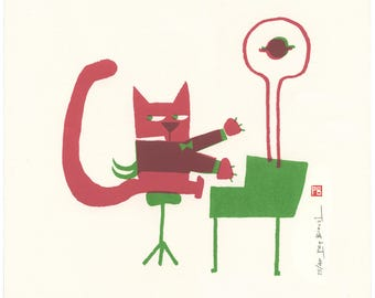 Pianist Cat / silkscreen / autoedition