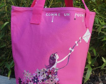 Pink tote bag pink girl with kite