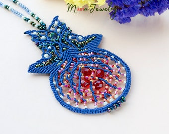 Pomegranate necklace, unique, micro-macrame necklace, macrame jewelry, beadwork, beadwoven, fruit, blue red, bohemian, boho chic, elegant