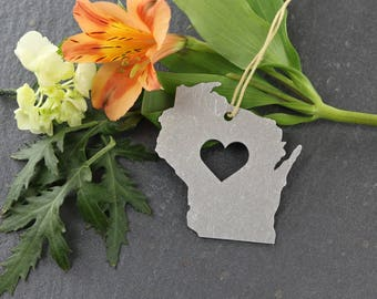 Love Wisconsin WI Custom Stamping Engraving Christmas Ornament Rustic Home spring Decor Personalized Gift for Him Her Housewarming Wedding