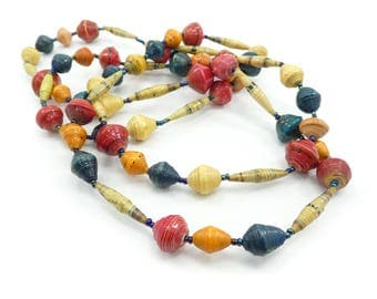 Vintage Paper Beads Necklace, African, Long