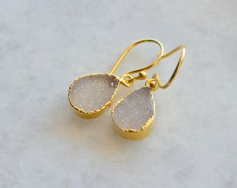 White druzy drop earrings, druzy earrings, 24k gold filled druzy earrings