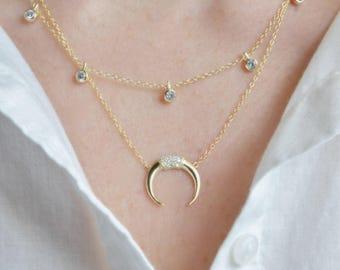Crescent necklace, crsecent cz necklace, gold crescent necklace, gold cz crescent necklace, 24k gold filled crescent necklace