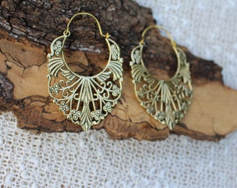 Big Ornate Earrings, Tribal Jewellery, Ethnique Earrings, Ornament, Boho Hoop Earrings, Brass Earrings, Boucles d'oreille Laiton Ornemental