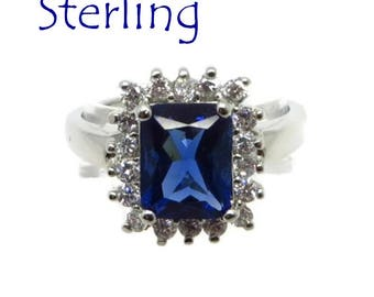 Sterling Silver - Sapphire CZ Cocktail Ring Vintage FAS Sterling Silver, Blue and White CZ, Dinner Ring Size 8. Free Shipping