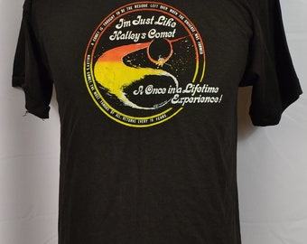 Vintage 80s 1983 Halley's Comet Once in a Lifetime T-Shirt Black Soft Thin 50/50 Blend Single Stitch Made in USA Universe Galaxy Outer Space